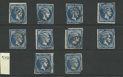 PS127 Large Hermes Heads Greece: 20l. 1875/80 X10 : the blue shades