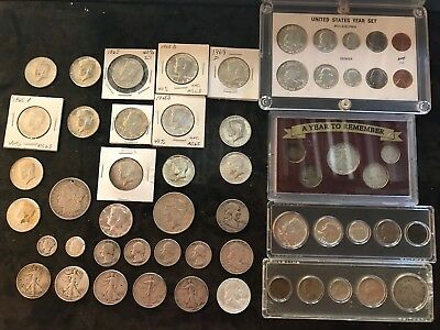 Variety lot of US Silver Coins Peace Morgan Walker Franklin Kennedy mercury more
