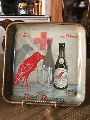 Vintage 1920's Red Raven Tray