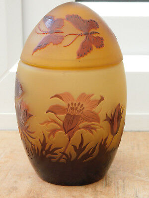 Beautiful Signed D'argental French Cameo Glass Butterfly And Flowers Lidded Jar