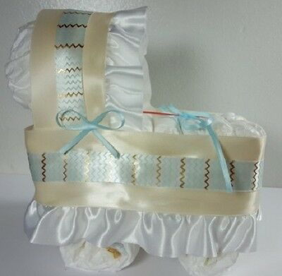 Diaper Cake Bassinet Carriage Baby Shower Gift Boys - Cream w/ Blue/Gold Chevron