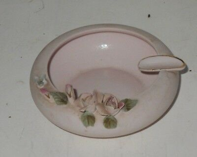 Vintage LEFTON China Art pottery pink ASHTRAY W/ Pink Roses raised floral 1782