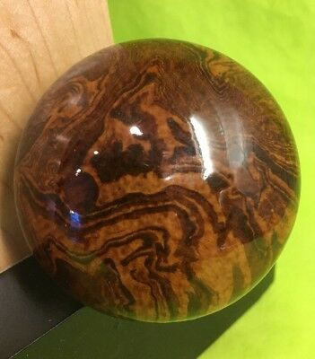 "Antique brown Tiger swirl Door knob 1850's 2-1/4"" Diameter. Rare Early Shaft"