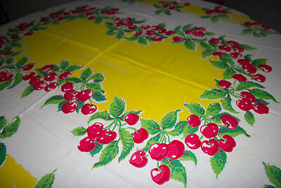 Vintage GORGEOUS printed Cherries Tablecloth Rectangle 48 x 64 LARGE!