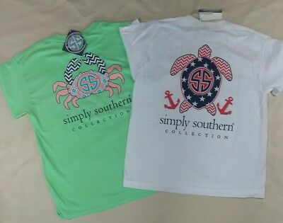 NWT Simply Southern Youth Sz. Medium Crab & Turtle Tees (Old Designs)- READ AD