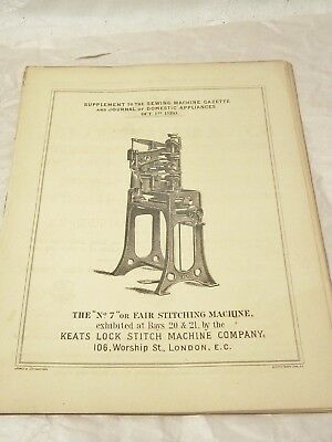 "Antique Paper Advertising "" Supplement To  The Sewing Machine Gazette"" Oct. 1880"
