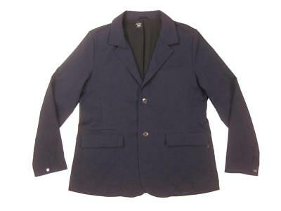 QOR navy STRETCH GABARDINE PERFORMANCE 2-BUTTON COMMUTER BLAZER L jacket