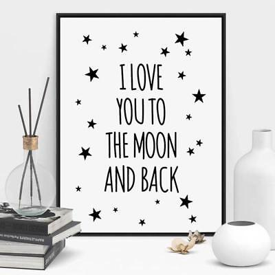 I Love You To The Moon And Back Quote Canvas Star Art Painting Poster Home Decor
