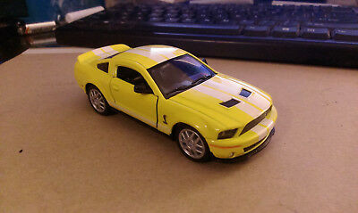 Kinsmart 2007 Ford Shelby Mustang GT 500 1:38 Scale Yellow with White Stripes