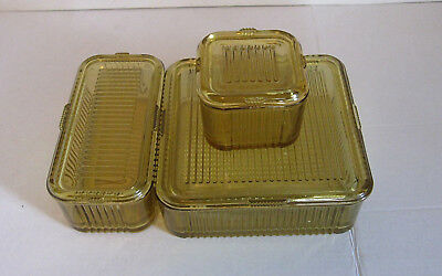 Vintage Refrigerator Dishes Ribbed AMBER Set of 3 w/ Lids VERY Ex. Condition!