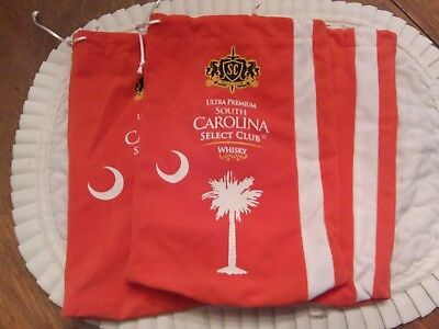 Three South Carolina  Select Club Ultra Premium whiskey Velvet Bags