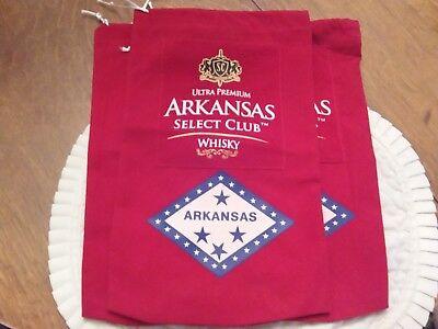 Three Arkansas Select Club Ultra Premium whiskey Velvet Bags