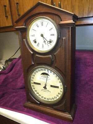 Attractive Ithaca Walnut Double Dial  Calendar Clock Circa 1866 working clean