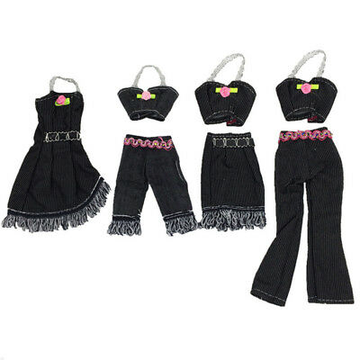 4 Pcs/lot Barbie Clothes Outfits Jacket+Pants Skirt Clothing for Doll Set