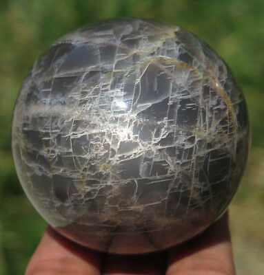 58mm 9.3OZ Natural Black Moonstone Crystal Sphere Ball