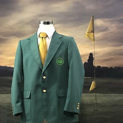 Masters Golf Palm Beach Jacket Blazer Green Gold Button L Large 44L Long ⛳️