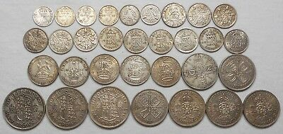 Lot Of 32 Great Britain Silver Coins - 3 Pence To Half Crown
