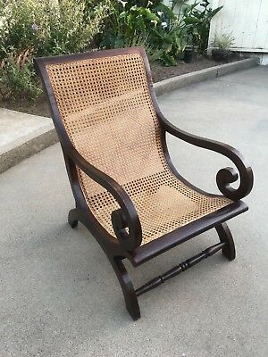 Antique Mahogany(?) British Colonial vintage plantation chair cane -we can ship!