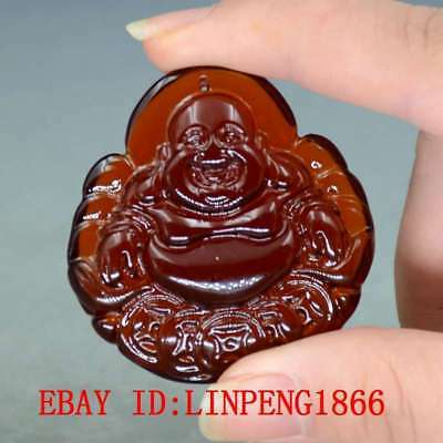 18.4g 100% Natural Blood Red Burmite Amber Stone Hand-carved Maitreya Pendant
