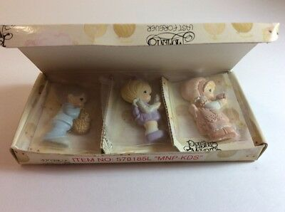 1990 PRECIOUS MOMENTS Refrigerator Magnets Set of 3 Sealed Bags in Box Vintage