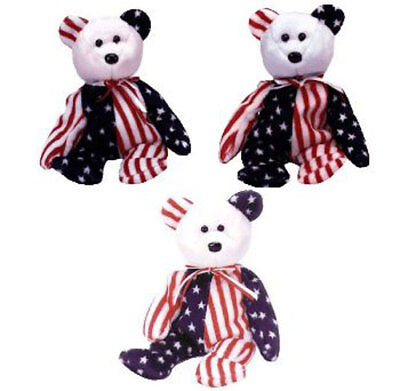 TY Beanie Babies - SPANGLE the Bears (Set of 3 - Pink, White & Blue Heads) MWMTs