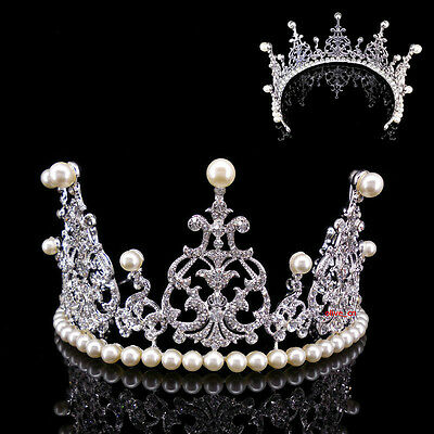 8cm High Large Full Crystal Pearl Wedding Bridal Party Pageant Prom Tiara Crown