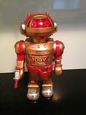 Vintage Toby Robot battery operated Smoking TOY ROBOT - made in Hong Kong