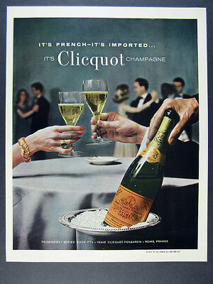 1963 Veuve Clicquot-Ponsardin Champagne classic bottle photo vintage print Ad