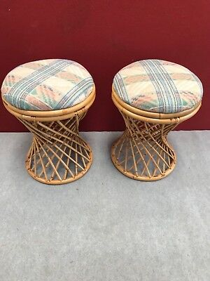 2 cane padded top stools
