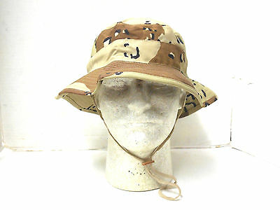 New Unissued Genuine Usgi 6 Color Choc. Chip Desert Storm Boonie Hat 6 3/8