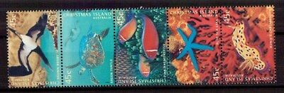 M0159sbs Christmas Island 1998 Marine Life 53c MUH Strip of Stamps