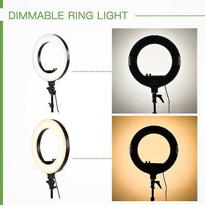 """LED Photography Ring Light Dimmable 5500K 18"""" Lighting Photo Video Stand"""
