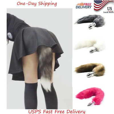 Fox Tail Anal Insert Plug In Adult Games Metal Funny Love Toy Comical Faux New