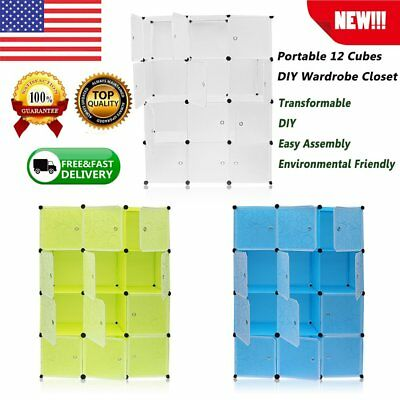 DIY 12 Cube Portable Closet Storage Organizer Clothes Wardrobe Cabinet w/Doors B