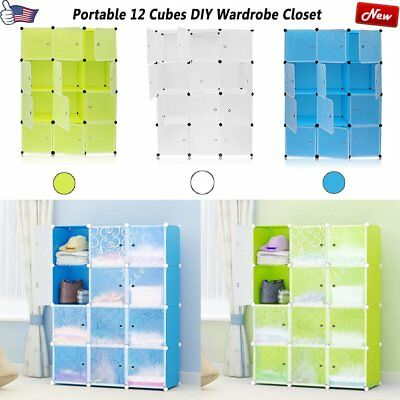 Portable Clothes Wardrobe Walk-in Closet Storage Organizer w/ Doors + 12 Cubes B