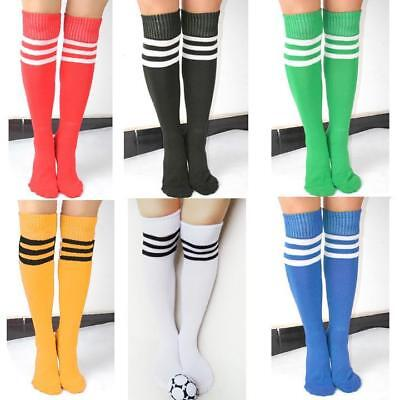 Girls Ladies 3 Stripes Referee Socks Striped Over The Knee Thigh High Long Socks