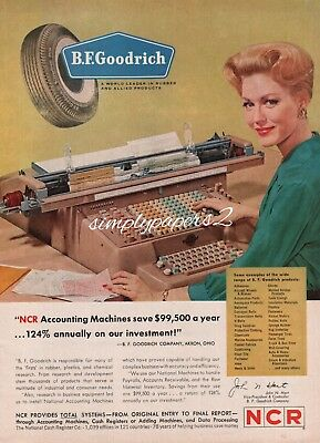 1962 NCR Accounting Machine Woman Typing BF Goodrich Vintage Print Ad