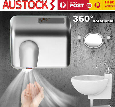 2x 360° Rotational Wall Mounted Automatic Hand Dryer 2300W White AU Stock