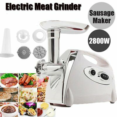 2800W Electric Meat Grinder Mincing Machine Sausage Stuffer Stainless Steel SW