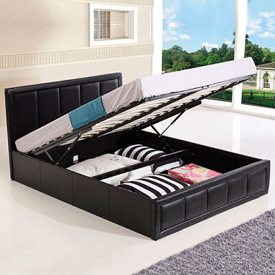 Storage Bed Ottoman Gas Lift Double King Size Leather Beds Memory Foam Mattress