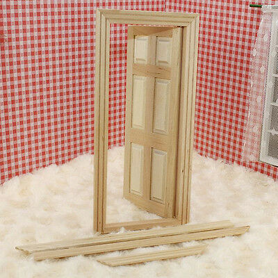 NEW*1:12 Dollhouse Miniature Unpainted Wooden 6-Panel Door With Frame Set