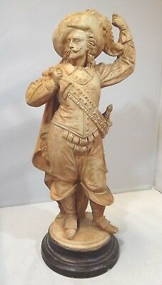 Antique C19th Large Pottery Figurine of a French Musketeer Marked L&M L&C 836