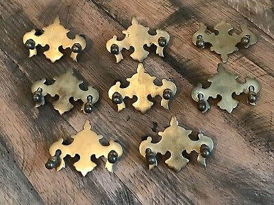 8 Antique Brass Art Nouveau Drawer Pull Back Plates With Handle Fittings Gothic