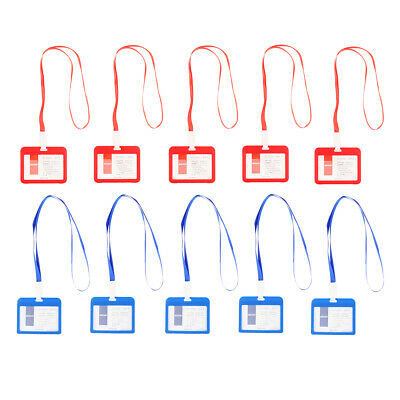 10pcs Badge Holders Open Double Sided Pick Card ID Card Pouches -Blue & Red