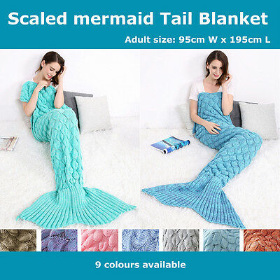 Adult Super Soft Scaled Mermaid Tail Blanket Crochet Knitting Colour Mixed Throw