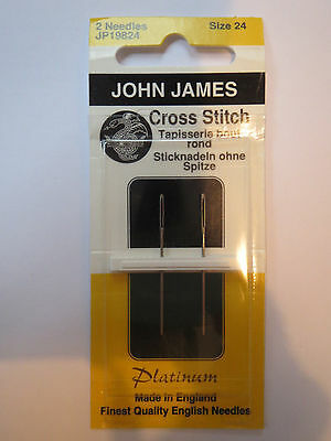 john james platinum cross stitch needles size 24 x2