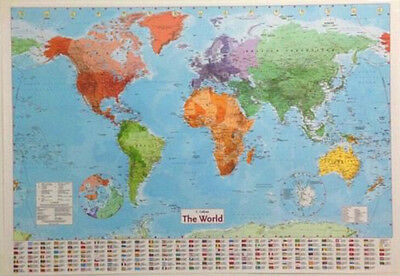 FD3189 LARGE MAP OF THE WORLD Wall Chart Political Flags Poster Home Art 98CM