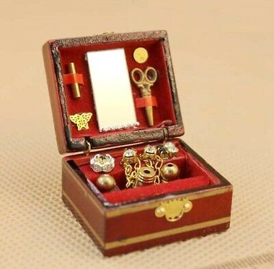 1:12 Dollhouse Miniature Wooden Vintage Cosmetic Box Jewelry Box Can Be Opened@