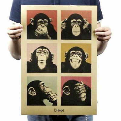 FD3330 Chimps Paper Posters Kraft Restaurant Bar Coffee Shop Wall Adornment 51""