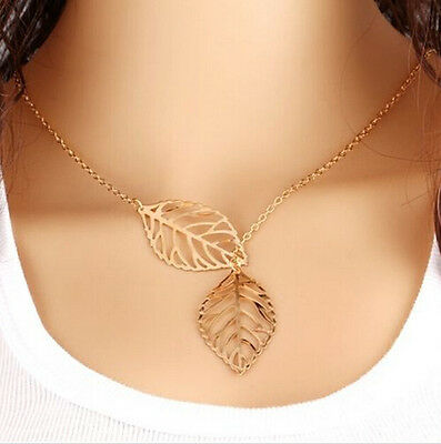 FD2622 Silver Plated Metal Hollow Leaves Necklace Elegant Pendants Jewelry gold